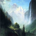 Albert Bierstadt (1830-1902)  Staubbach Falls, Near Lauterbrunnen, Switzerland  Oil on canvas, c.1856  38 x 60 1/2 inches (96.52 x 153.67 cm)  Public collection